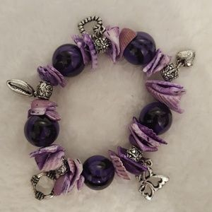 Purple Sea Shell Charm Bracelet